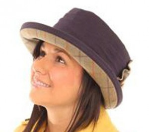 06e35034bcc9a Navy Wax Hat with Tweed Bow and Underbrim